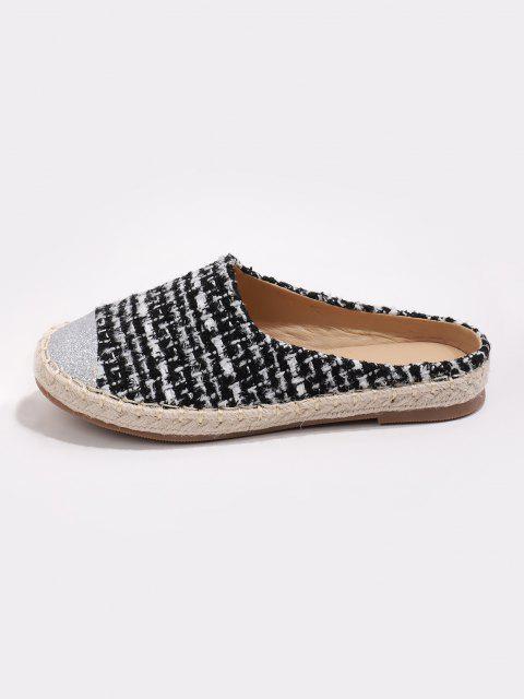 hot Shiny Toe Tweed Espadrilles Half Flat Shoes - BLACK EU 39 Mobile
