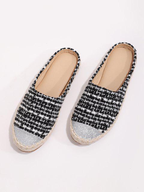 Chaussures Espadrilles Brillantes Plates à Demi-Transparent en Tweed - Noir EU 40 Mobile