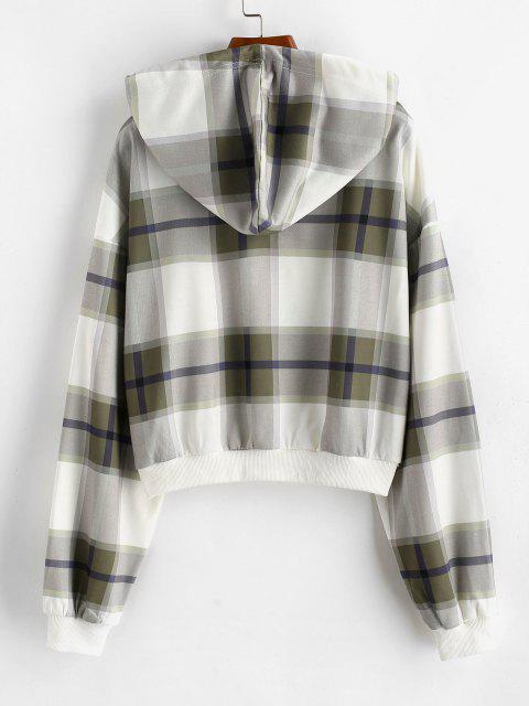 hot ZAFUL Drawstring Full Zip Plaid Hooded Jacket - FERN GREEN S Mobile