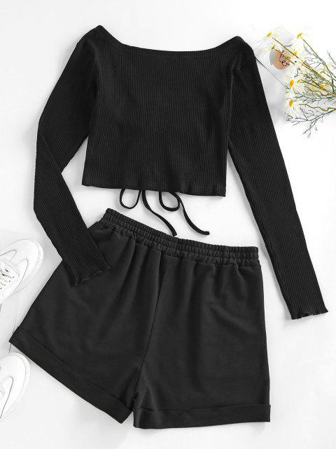 women ZAFUL Cinched Ribbed Two Piece Shorts Set - BLACK M Mobile