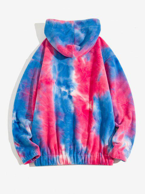 ladies Tie Dye Pattern Letter Applique Half Zip Fleece Hoodie - ROSE RED 2XL Mobile