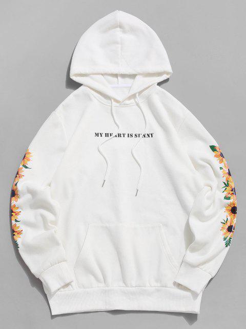 ZAFUL Sonnenblumen Slogan Vlies Hoodie - Weiß M Mobile