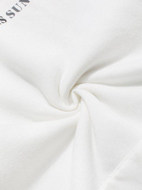 shops ZAFUL Sunflower Print Slogan Fleece Hoodie - WHITE L Mobile