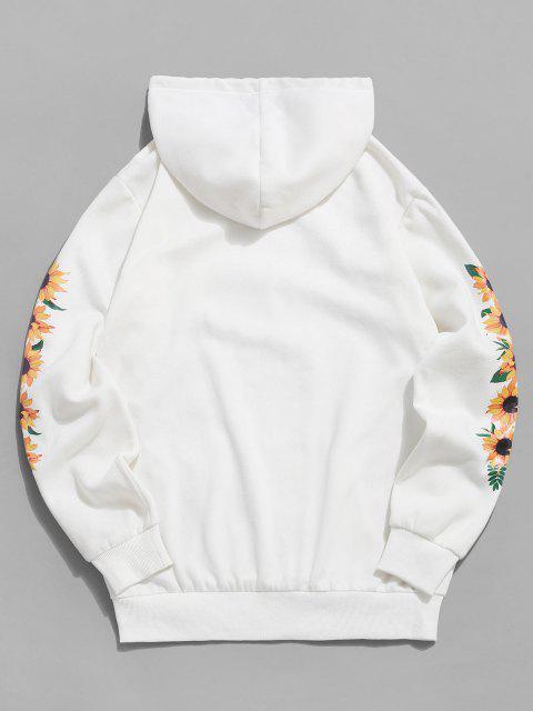 trendy ZAFUL Sunflower Print Slogan Fleece Hoodie - WHITE 2XL Mobile