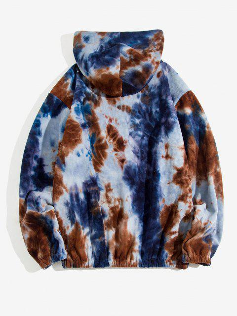 women Tie Dye Pattern Half Zip Drawstring Hoodie - DEEP COFFEE XL Mobile