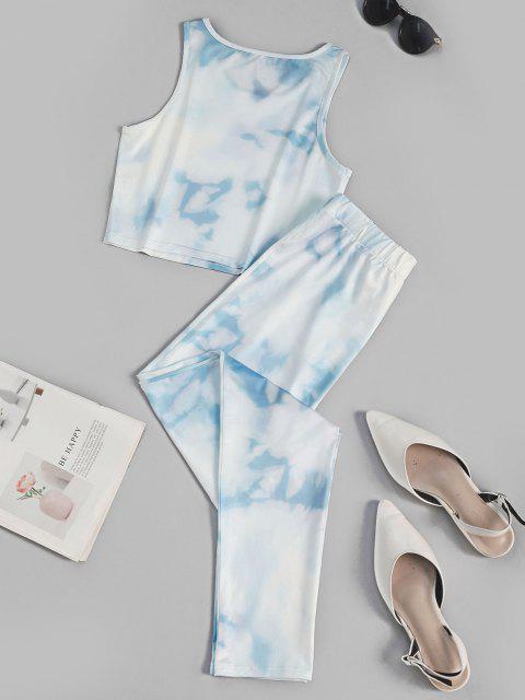 Conjunto de Top Frente Única Barriga de Fora e Calça Cortado - Azul claro L Mobile