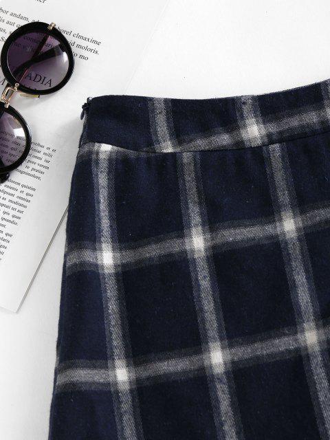 ZAFUL Kariertes Asymmetrisches Kleid mit Hemmende Platte - Dunkles Schieferblau M Mobile