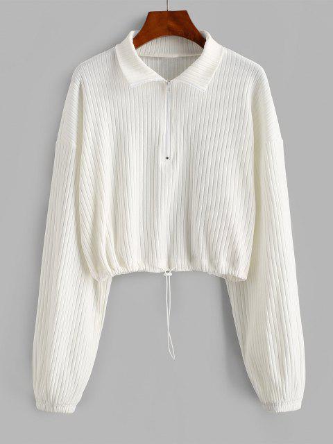 ZAFUL Toggle Drawstring Ribbed Half Zip Sweatshirt - أبيض L Mobile