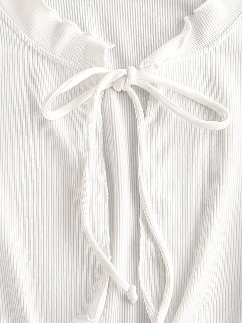 latest ZAFUL Ribbed Ruffle Tie Front Cover Up Top - WHITE L Mobile
