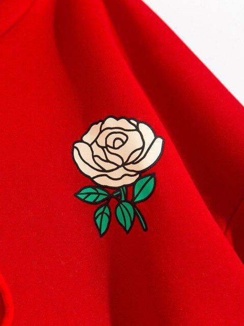 Känguru Taschen Vlies Blumen Druck Hoodie - Rot XL Mobile