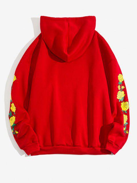 latest Flower Print Kangaroo Pocket Fleece Hoodie - RED 2XL Mobile