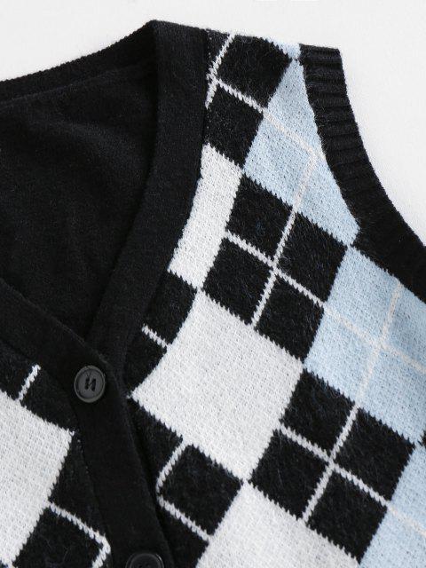 ladies ZAFUL Argyle Button Up Sleeveless Cardigan - BLACK L Mobile