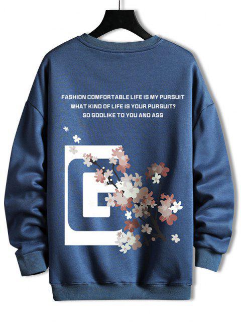 women's Crew Neck Floral Slogan Graphic Sweatshirt - BLUEBERRY BLUE 4XL Mobile
