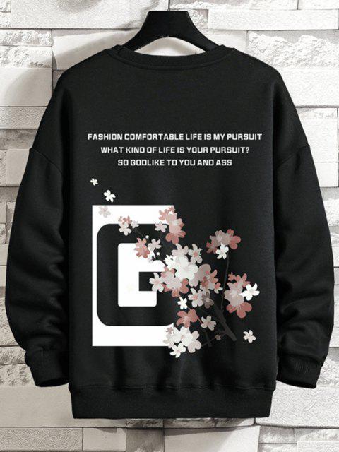 Sweat-shirt Graphique Slogan Floral à Col Rond - Noir XL Mobile