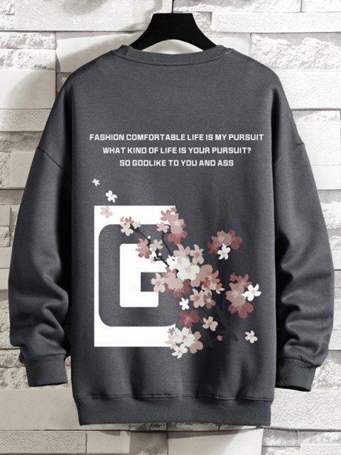 chic Crew Neck Floral Slogan Graphic Sweatshirt - DARK GRAY M Mobile