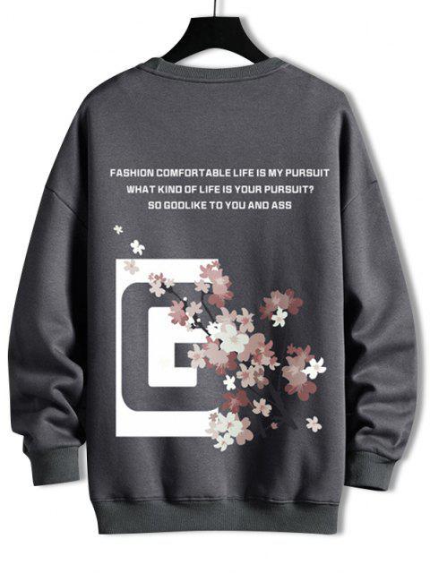 new Crew Neck Floral Slogan Graphic Sweatshirt - DARK GRAY L Mobile