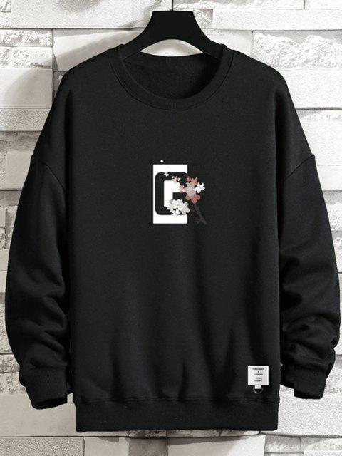 sale Crew Neck Floral Slogan Graphic Sweatshirt - BLACK 4XL Mobile