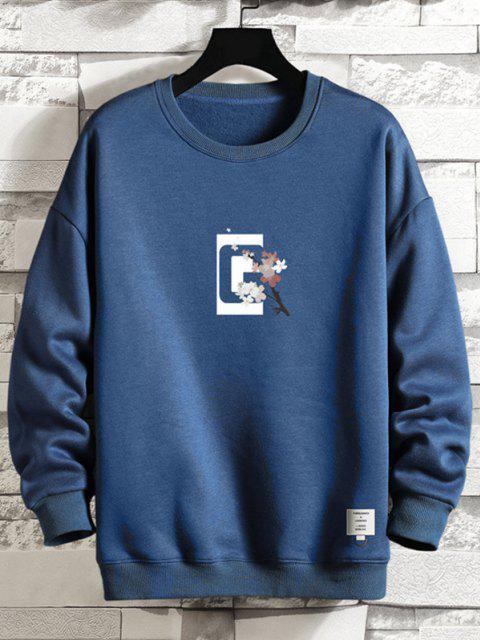 buy Crew Neck Floral Slogan Graphic Sweatshirt - BLUEBERRY BLUE M Mobile