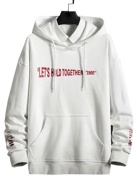 ladies Slogan Striped Print Kangaroo Pocket Hoodie - WHITE L Mobile
