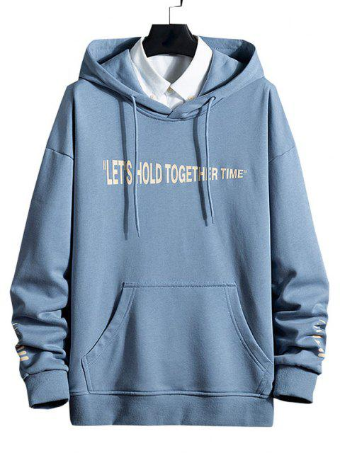 latest Slogan Striped Print Kangaroo Pocket Hoodie - BLUE KOI XL Mobile
