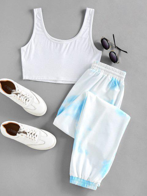 chic ZAFUL Crop Top and Drawstring Jogger Pants Set - LIGHT SKY BLUE XL Mobile