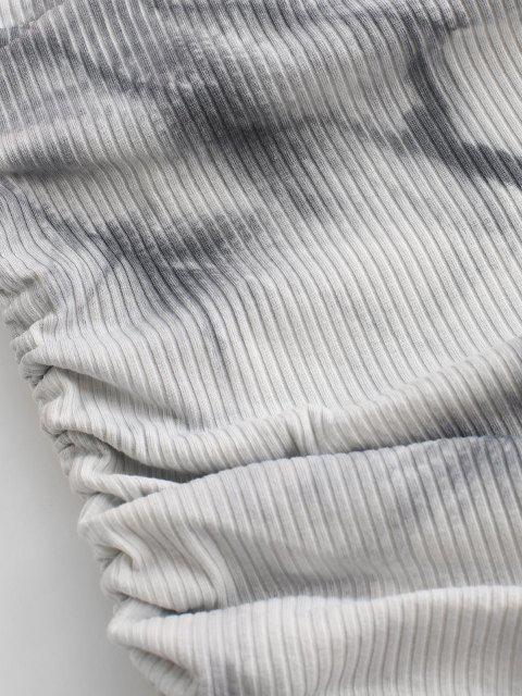 ZAFUL Geschnürte Seite Gerippter Krawattenfärbender Rock - Schwarz XL Mobile