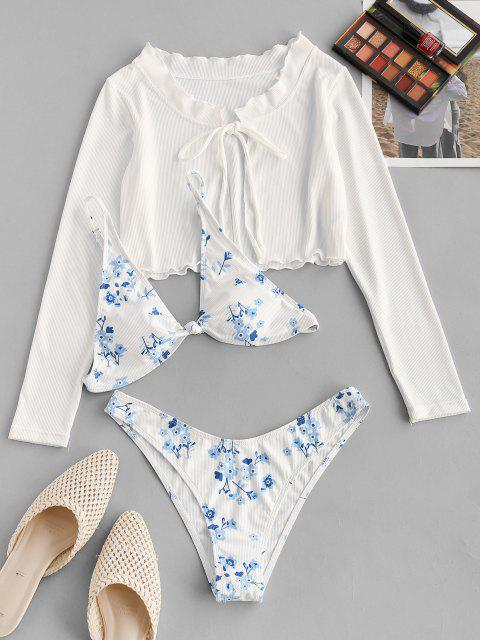 fashion ZAFUL Ribbed Flower Ruffle Knotted Three Piece Bikini Swimwear - WHITE M Mobile