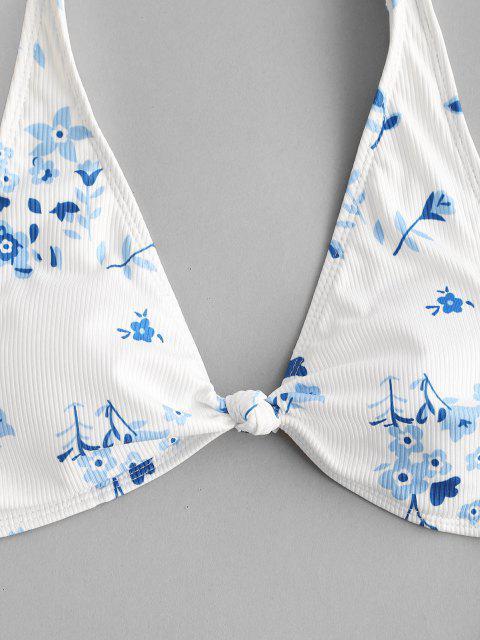 ZAFUL Bikini Brasileña Acanalado de Flor - Blanco M Mobile