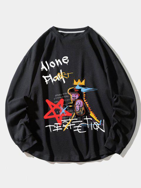 trendy Alone Play Dinosaur Crown Star Graphic Sweatshirt - BLACK XL Mobile