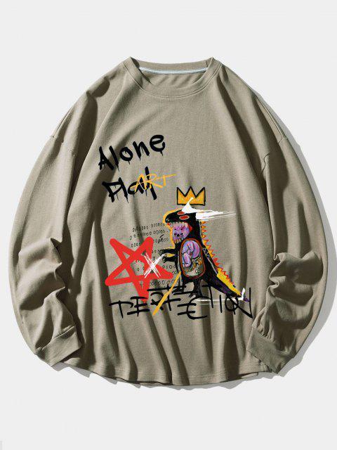 fancy Alone Play Dinosaur Crown Star Graphic Sweatshirt - TAN 2XL Mobile