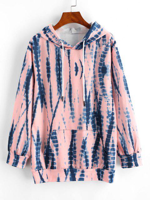 outfit Tie Dye Drawstring Kangaroo Pocket Hoodie - LIGHT PINK S Mobile