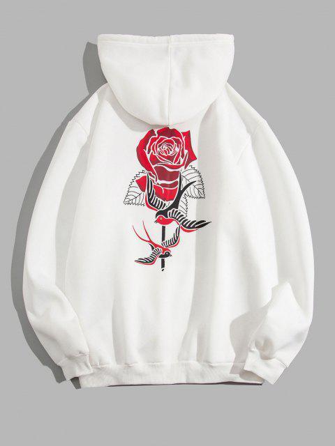 buy Birds Rose Flower Print Fleece Hoodie - WHITE S Mobile