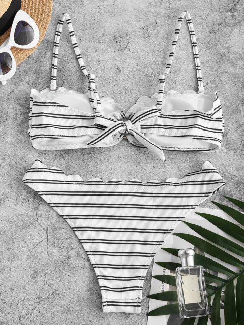 ZAFUL Gestreifte Gerippte O Ring Bikini Badebekleidung - Weiß S Mobile
