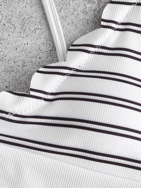 fashion ZAFUL Striped Ribbed Scalloped High Leg Bikini Swimwear - WHITE M Mobile