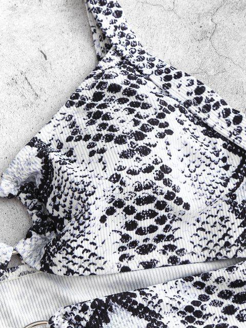 outfits ZAFUL Snake Print O Ring Cutout Tankini Swimwear - WHITE M Mobile