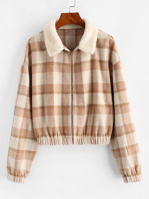 ZAFUL Fur Collar Plaid Wool Blend Coat - سكر بني S Mobile