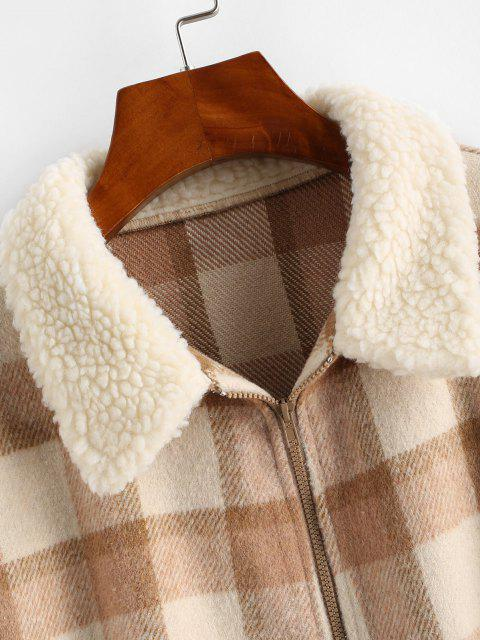 fancy ZAFUL Fur Collar Plaid Wool Blend Coat - BROWN SUGAR S Mobile