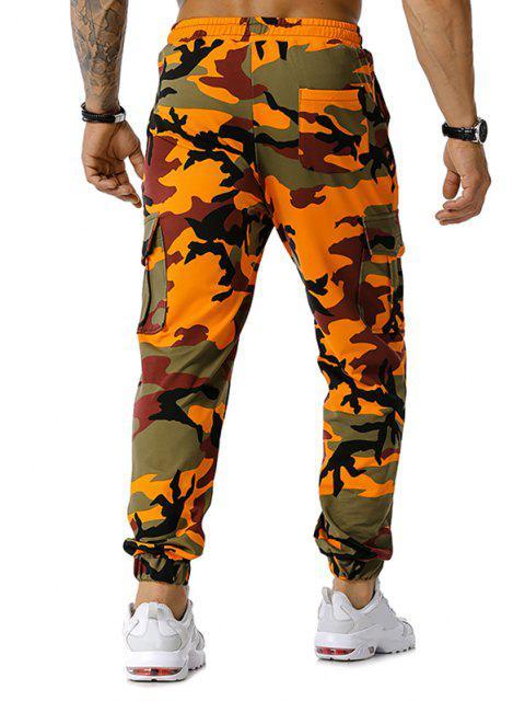 La impresión de Camo con cordón de carga del basculador de pantalones - Naranja XL Mobile