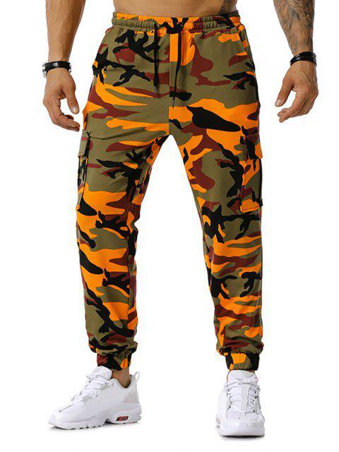 La impresión de Camo con cordón de carga del basculador de pantalones - Naranja 2XL Mobile