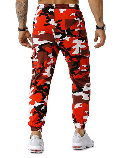 La impresión de Camo con cordón de carga del basculador de pantalones - Rojo XL Mobile