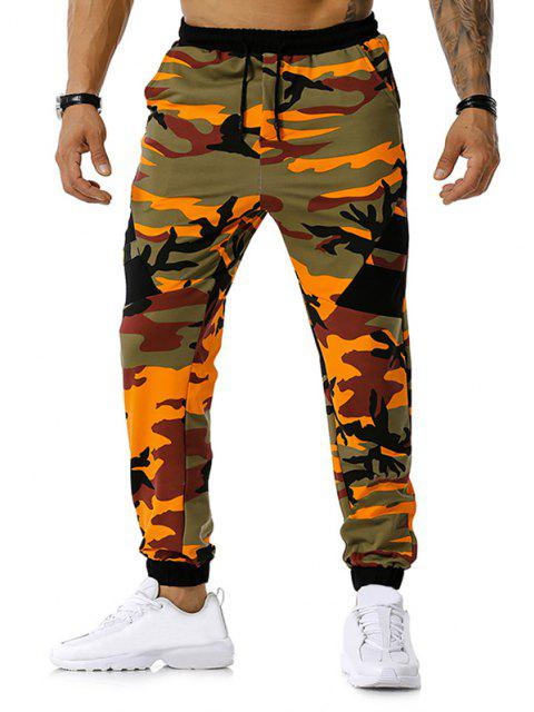 Camuflaje Imprimir pantalones de cordón Deportes - Naranja S Mobile