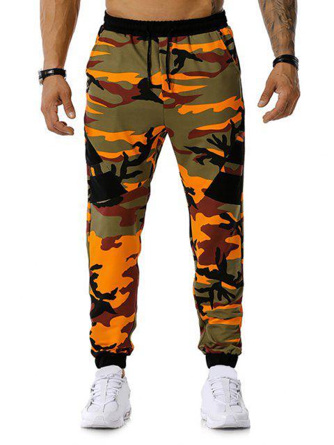 Camouflage Print Drawstring Sports Pants - Orange M Mobile