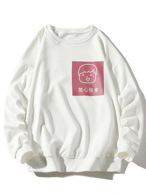 best Cartoon Hanzi Graphic Print Sweatshirt - WHITE 4XL Mobile