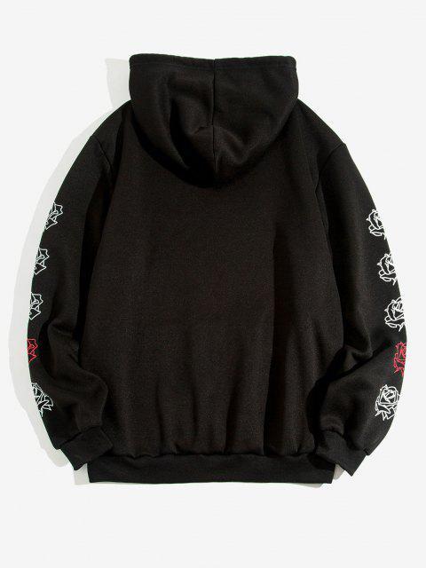 sale Kangaroo Pocket Rose Flowers Print Fleece Hoodie - BLACK XL Mobile