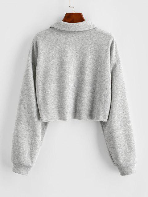 ZAFUL Button Up Raw Hem Cropped Sweatshirt - بلاتين L Mobile