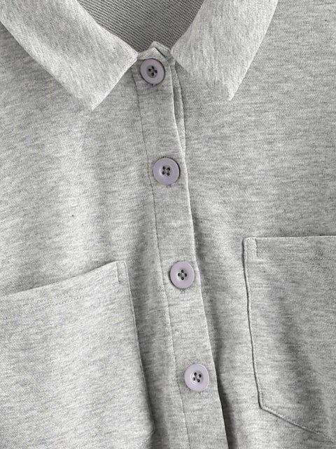 hot ZAFUL Button Up Raw Hem Cropped Sweatshirt - PLATINUM M Mobile