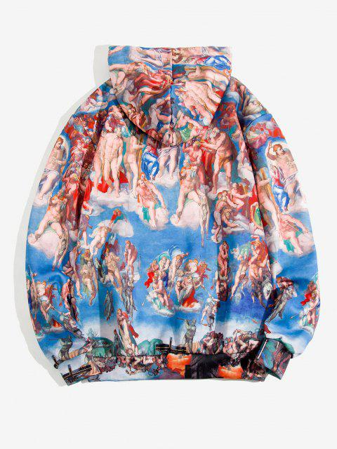 women Kangaroo Pocket Renaissance Art Print Hoodie - COBALT BLUE L Mobile