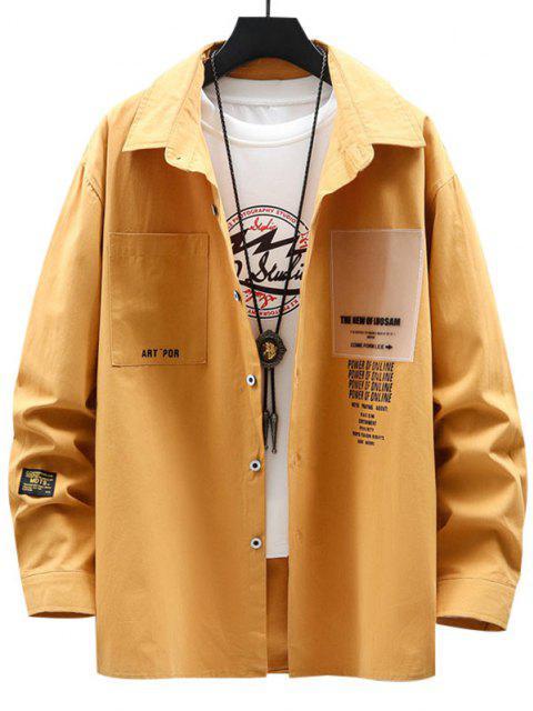 文字柄パッチポケット長袖シャツ - 黄 3XL Mobile
