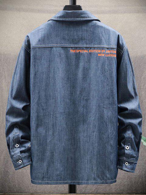 レターアップリケテキストを印刷ダブルシャツポケット - デニムダークブルー L Mobile