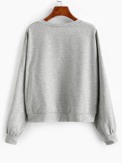 ZAFUL Sweat-shirt à Goutte Epaule à Col V - Gris S Mobile